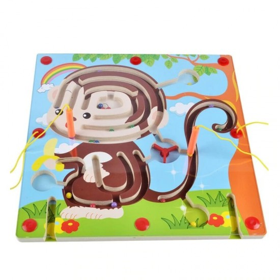 Labirint magnetic din lemn - Maimuta