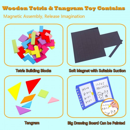 Joc multifunctional 3 in 1 - Magnetic Tetris Tangram