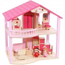 Casuta Roz de papusi din lemn cu mobilier