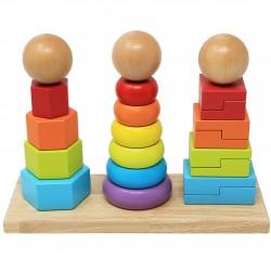 Turn stivuire 3 in 1 piramida Montessori cu forme geometrice NeoWows