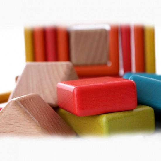 Joc educational din lemn Montessori - Blocuri Curcubeu (6 culori , 4 forme)