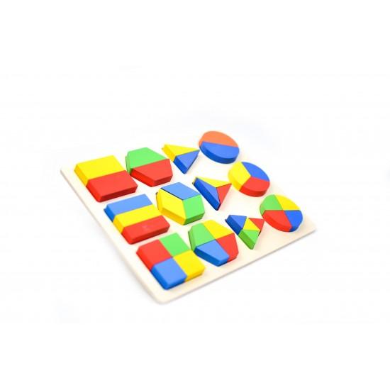 Puzzle 3D forme geometrice placa lemn