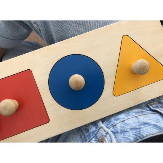 Montessori puzzle incastro - forme geometrice si culori din lemn