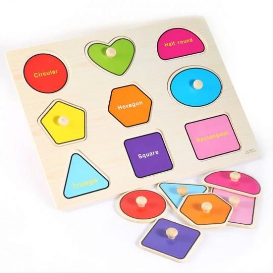 Puzzle forme geometrice cu pini