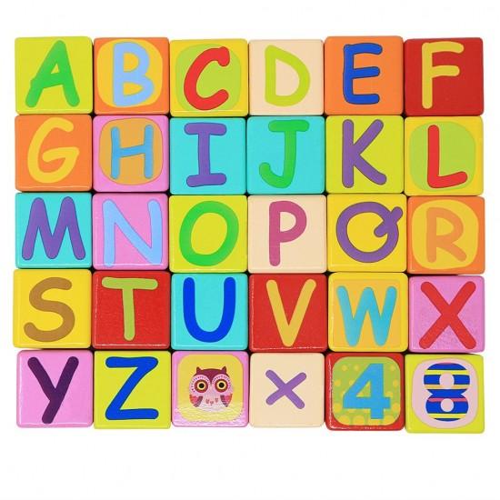 Set 121 cuburi din lemn - litere, cifre, animale Neowows