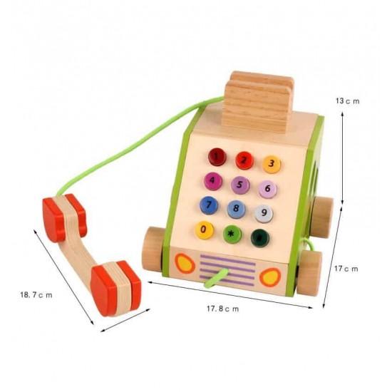 Telefon din lemn – jucarie de tras cu sortator forme si cifre