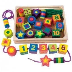 Joc de insiruit, snuruit cu piese din lemn Joc Montessori Cifre si Forme