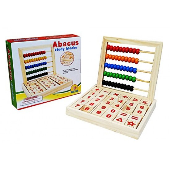 Abac din lemn cu litere, cifre si operatii matematice