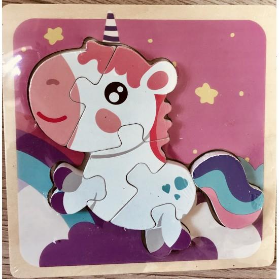 Puzzle 3D Din Lemn Unicorn Roz 4 Piese