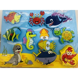 Puzzle 3D Din Lemn Cu 10 Animale Marine
