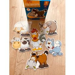 Set 6 Puzzle 2 sau 3 piese din carton Animale Fericite la ferma