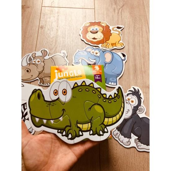 Set 6 Puzzle 2 sau 3 piese din carton Animale Fericite in Jungla