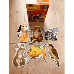 Set 6 Puzzle 2 Sau 3 Piese Din Carton Animale Domestice