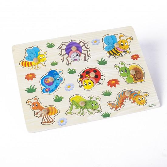 Puzzle din lemn cu pini Insecte zambarete