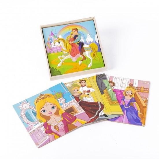 Set de 4 Puzzle 12 piese Fetita Printesa