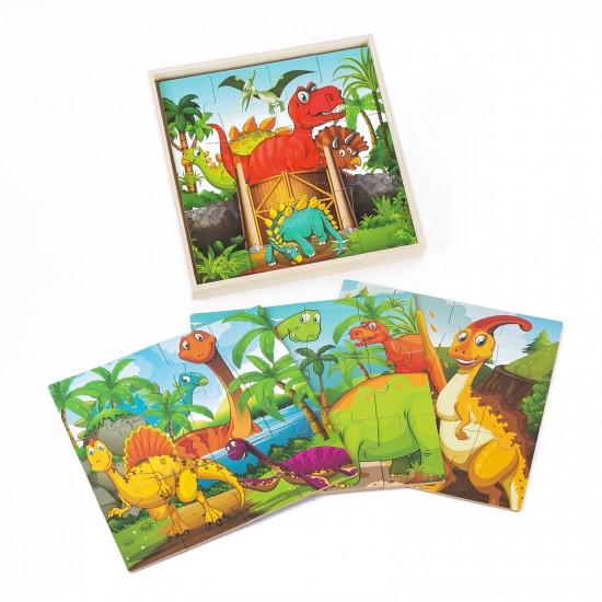 Set de 4 Puzzle 12 piese Dinozauri