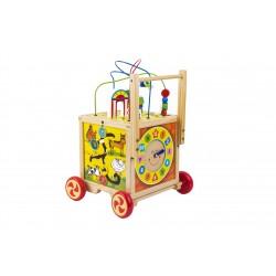 Antemergator din lemn cu 6 jocuri educative