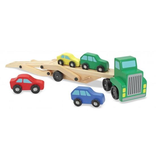 Masina cu platforma si 4 masinute din lemn