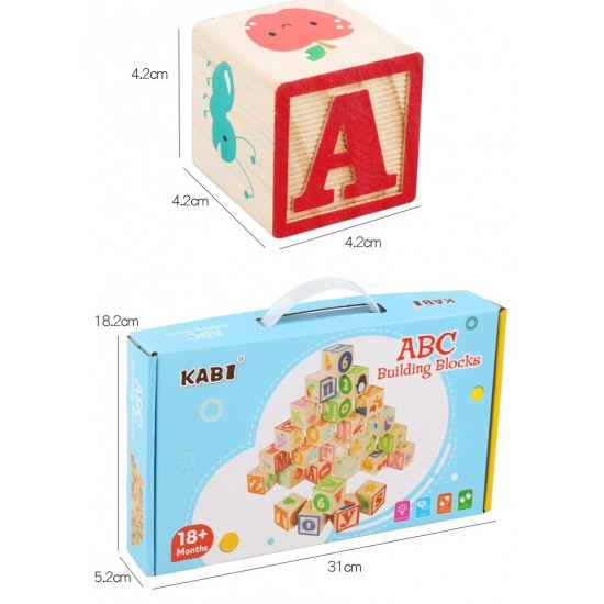 Cuburi mari Alfabet din lemn KABI