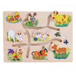 Joc Din Lemn Labirint Animale de la ferma Onshine