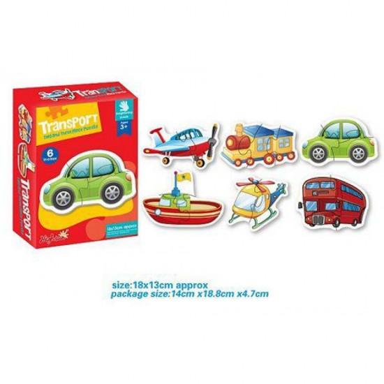 Set 6 Puzzle 2 sau 3 piese din carton Vehicule