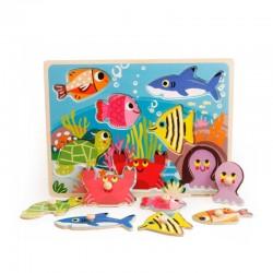 Puzzle din lemn Color cu pini - Animale marine