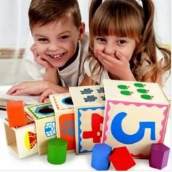 Turn Montessori din lemn 5 cuburi Cifre si Forme