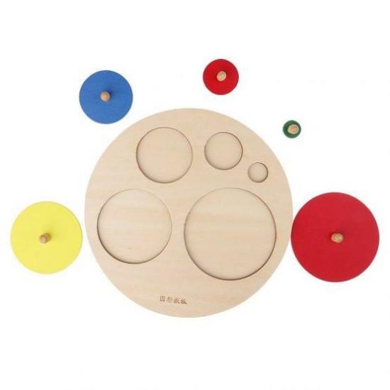 Puzzle incastru Montessori din lemn, 5 cercuri cu maner