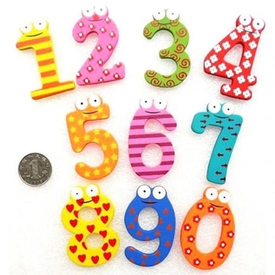 Set cifre magnetice din lemn, multicolore