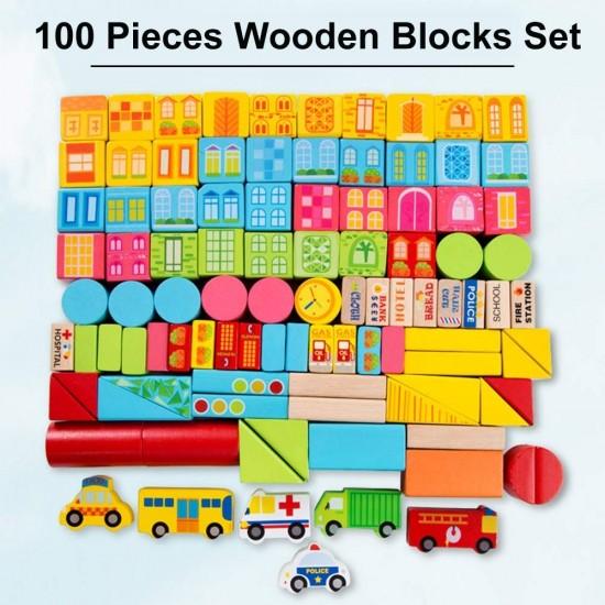 Orasul 100 cuburi din lemn Onshine