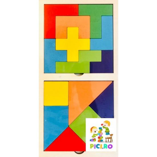 Puzzle Tangram/tetris 6 jocuri din lemn