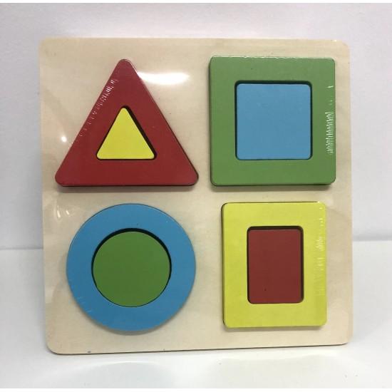Puzzle color 4 forme geometrice lemn