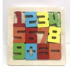 Puzzle color cifre lemn