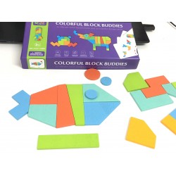 Joc Tangram color din lemn