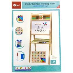 Tabla magnetica cu doua fete reglabila 1,4M cu abac, ceas si accesorii incluse