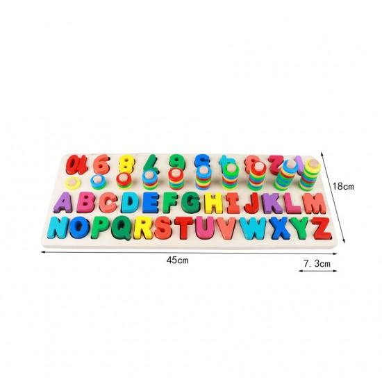 Joc educativ Asociere cifra cantitate cu ajutorul scarii numerice cu inele, invatarea literelor si culorilor