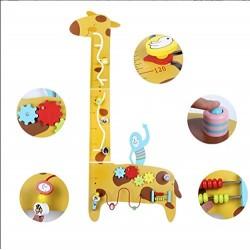 Busy Board Jucarie de perete Girafa jucarie educativa din lemn cu activitatii si masuratoare inaltime copii