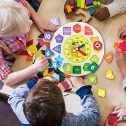 Ceas de sortare -jucărie educațională din lemn forme geometrice