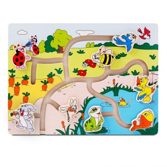 Joc din lemn labirint Animale in natura Onshine