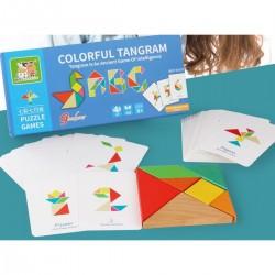 Tangram 7 piese din lemn, 50 carduri