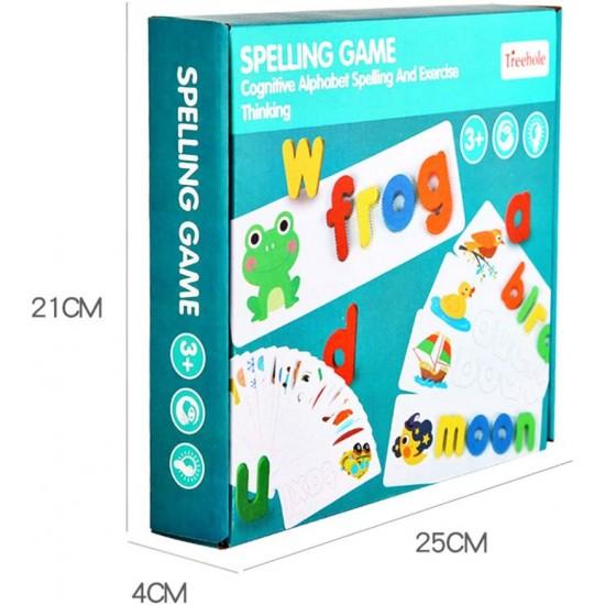 Joc lemn educativ Montessori - Litere 3D cu cartonase