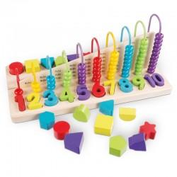 Joc educativ adunari, scaderi, cifre, forme geometrice si culori. Joc din lemn Complex