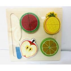Tava cu 4 Fructe de feliat din lemn