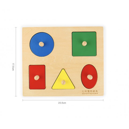 Puzzle lemn maner forme geometrice Montessori