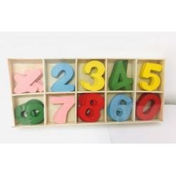 Cifre lemn colorat 0-9
