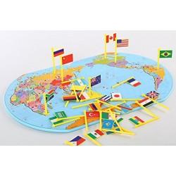 Harta lumii din lemn cu steaguri Joc educativ de geografie