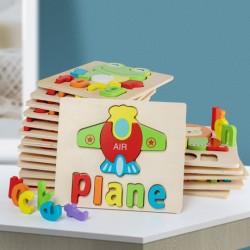 Puzzle din lemn Cuvinte in Limba Engleza - Plane (avion)
