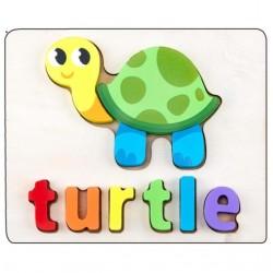 Puzzle Din Lemn Cuvinte In Limba Engleza - Broasca Testoasa (Turtle)