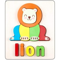 Puzzle Din Lemn Cuvinte In Limba Engleza - Lion  (Leu)