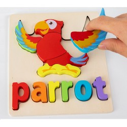 Puzzle Din Lemn Cuvinte In Limba Engleza - Parrot (Papagal)